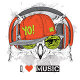 The image of the owl in the glasses, headphones and in hip-hop hat. Vector illustration. Royalty Free Stock Photo