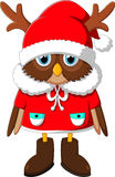The image owl with Santa's reindeer Stock Photo