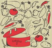 Image pan and vegetables in vector Stock Photos