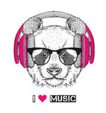 The image of the panda in the glasses, headphones and in hip-hop hat. Vector illustration. The image of the panda in the glasses, headphones and in hip-hop hat Stock Photos