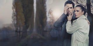 Image panoramique d'un beau jeune couple Photos libres de droits