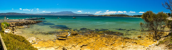 Image panoramique d'une belle plage en Tasmanie Image libre de droits