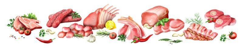 Image panoramique de viande crue illustration libre de droits