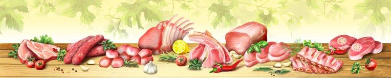 Image panoramique de viande crue illustration de vecteur