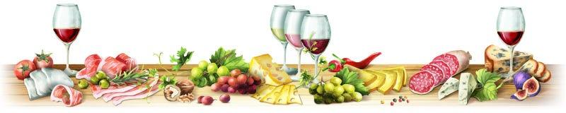 Image panoramique de viande fumée, des saucisses, du fromage et du vin watercolor illustration de vecteur