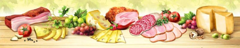 Image panoramique de viande fumée, des saucisses et du fromage watercolor illustration stock