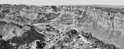 Image panoramique noire et blanche de Grand Canyon, Etats-Unis photos libres de droits