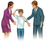 Explanation. Image of parents giving explanations to a child Stock Photo
