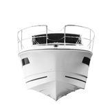 The image of an passenger motor boat, Bow of the ship, front view, isolated on white background.  royalty free stock photo