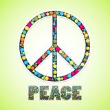 Image with peace sign filled circles and text below Royalty Free Stock Photo