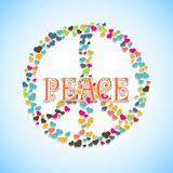 Image with peace sign filled hearts and text in the middle Royalty Free Stock Photo