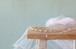 Image of pearls tiara on toilet table.  Stock Image