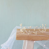 Image of pearls tiara on toilet table.  Stock Images