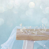 Image of pearls tiara on toilet table. Glitter overlay Stock Photos