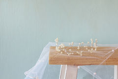 Image of pearls tiara on toilet table. vintage filtered Royalty Free Stock Image