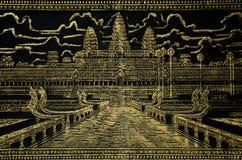 Image peinte de wat d'angkor au Cambodge Images stock