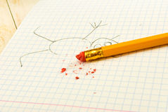 Image of pencil with eraser on exercise book background Royalty Free Stock Photo