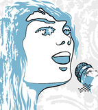 Image person  singing  a microphone Royalty Free Stock Images