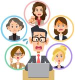 Personal computer network dispute seriousness for men and women stock illustration