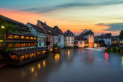 Image of Petite France historic area of Strasbourg o in France. Strasbourg. Image of Petite France historic area of Strasbourg old town during twilight blue Royalty Free Stock Photos