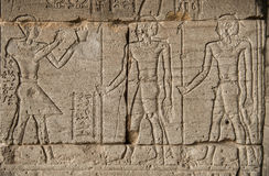 The image of Pharaohs and warriors on walls of the Egyptian Royalty Free Stock Photo
