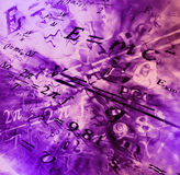 Image of physical technology abstract background. Science wallpaper with school physics formulas and structures. Stock Image