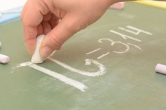 An image of the Pi number on the school board with chalk. Royalty Free Stock Photos