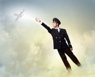 Image of pilot touching air Stock Images