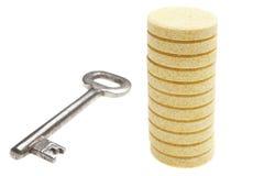 Image of pils and key isolated on white background. Image of pils and key very close isolated on white background Stock Photography
