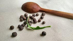Pimento, allspice and wooden spoon. Image of pimento, allspice with the wooden spoon on the textile background Stock Images