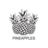 Image of pineapple fruit. Black image of pineapple tropical fruit vector illustration