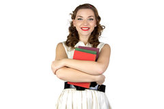 Image of the pinup woman with books Stock Images