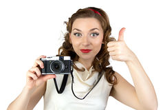 Image of the pinup woman with thumb up Royalty Free Stock Photography