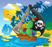 Image with pirate parrot theme 2 Stock Images