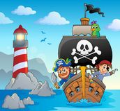 Image with pirate vessel theme 5. Eps10 vector illustration royalty free illustration
