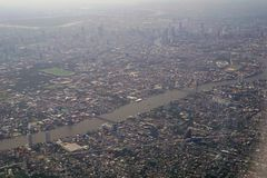 Image of plane window View of the village from the bird& x27;s eye vi royalty free stock images
