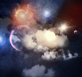 Image of planets in space stock illustration