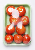Image of plastic pack of tomatoes from store on white background Royalty Free Stock Photography
