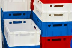 Plastic storage boxes. The image of Plastic storage boxes royalty free stock photography