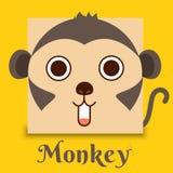 Image plate de vecteur de visage de singe sur le fond jaune illustration de vecteur