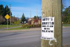 Pole with ad auto`s wanted. The image of pole with ad auto`s wanted stock image