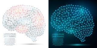 Image polygonale d'abrégé sur ADN Bas poly wireframe Photo libre de droits
