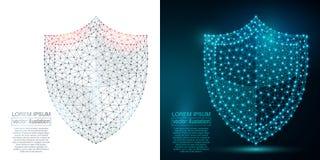 Image polygonale d'abrégé sur bouclier de sécurité bas poly Photo stock