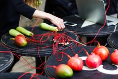 Image of pomegranates and mangoes with red wires on black table royalty free stock images