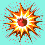 The image in the pop art style single red tomato in the background of the explosion. Stock Images