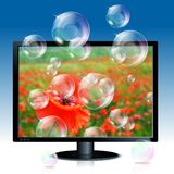 Image of poppy on lcd monitor with soap bubbles. Illustration of black lcd monitor with image of red poppy an soap bubbles coming out from screen stock illustration
