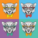 Image Portrait cheetah in the cravat and with glasses. Pop art style vector Royalty Free Stock Photography