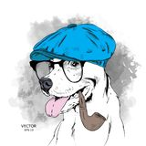 Image Portrait of dog in the hat and with tobacco pipe. Vector illustration. An Image Portrait of dog in the hat and with tobacco pipe. A Vector illustration vector illustration