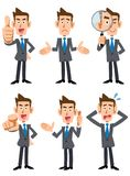6 poses and gestures of businessmen. The image of 6 poses and gestures of a businessmen wearing suits and blue tie stock illustration