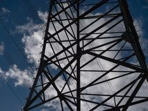 Image of power pole with cloudy background stock photo